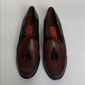 COLE HAAN Black & Brown Woven Loafer w/ Tassels